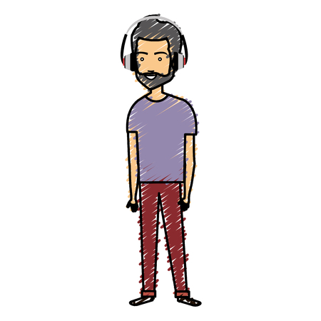 Young man with earphones avatar.