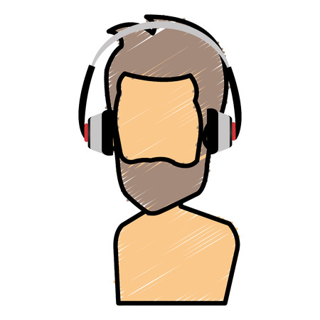 Bearded man with earphones avatar. Illustration