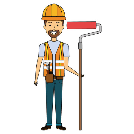 Repairman with roller paint avatar icon.