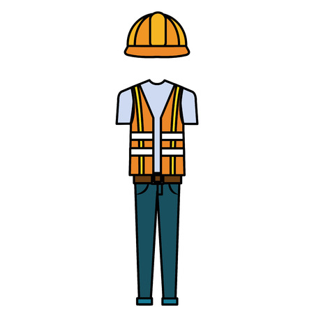 Construction worker uniform wicon. Illustration