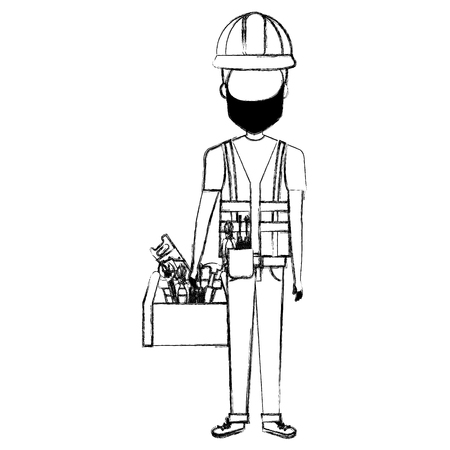 Repairman with mask and toolbox avatar.