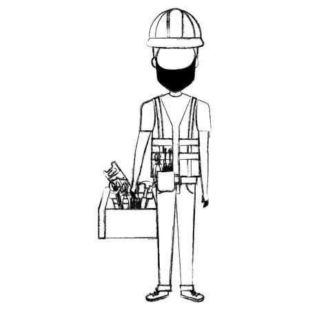 Reparador con máscara y avatar de la caja de herramientas. Foto de archivo - 85024859