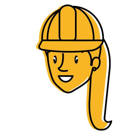 labourer: Construction woman avatar. Illustration