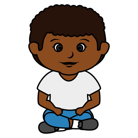black little boy seated character vector illustration design Illustration