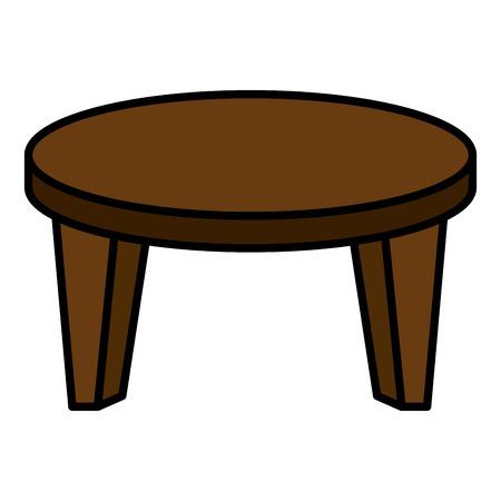 rotondo piccolo tavolo icona illustrazione vettoriale di progettazione Vettoriali