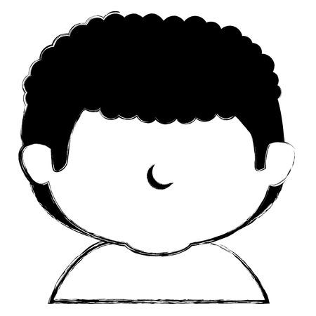Cute little boy a righe disegno illustrazione vettoriale carattere Archivio Fotografico - 85019359
