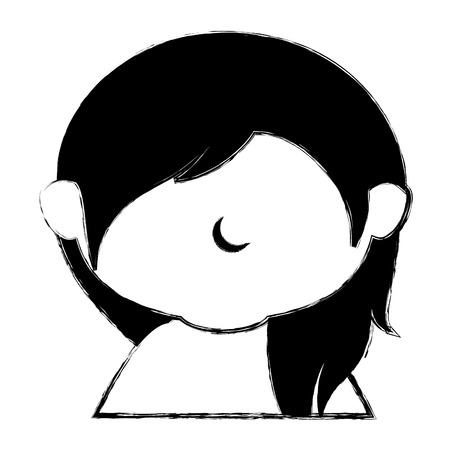cute little girl shirtless character vector illustration design Illusztráció