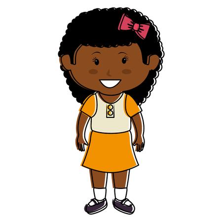 Black little girl character vector illustration design Ilustração