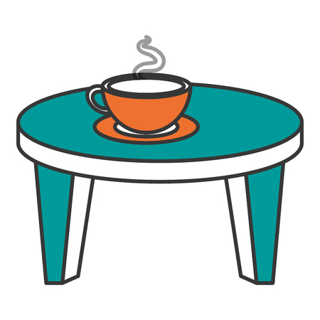 side table: Round little table with coffee vector illustration design