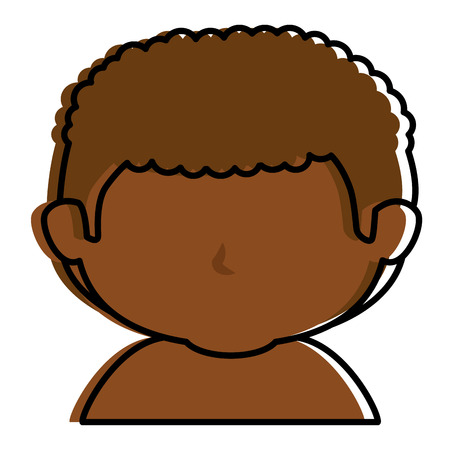 Black little boy shirtless character vector illustration design