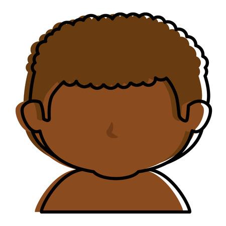 Black little boy shirtless character vector illustration design