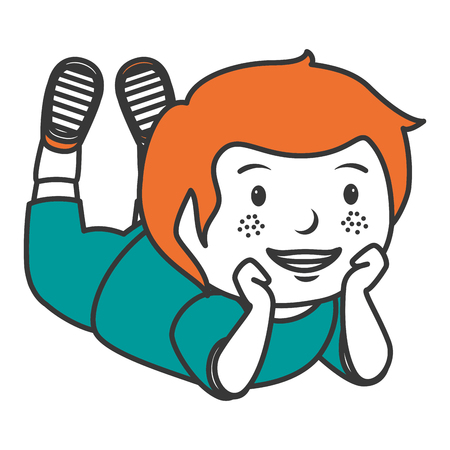 かわいい男の子横たわるキャラクターベクトルイラストデザイン