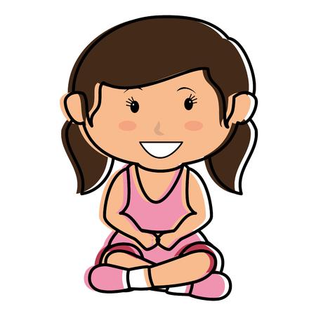 Cute bambina seduta carattere illustrazione vettoriale illustrazione Archivio Fotografico - 85018223