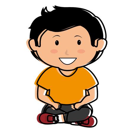 Carino ragazzo seduto illustrazione vettoriale illustrazione vettoriale Archivio Fotografico - 85018270