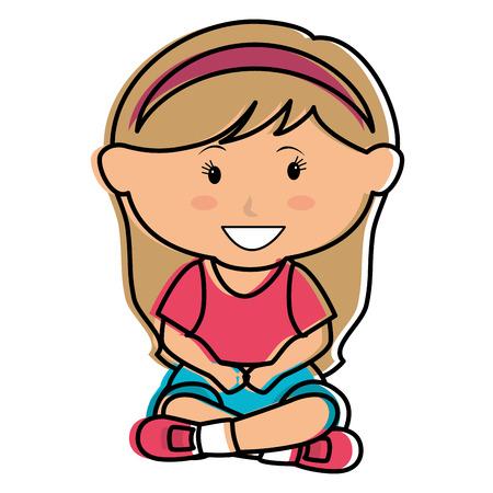 Cute bambina seduta carattere illustrazione vettoriale illustrazione Archivio Fotografico - 85018235