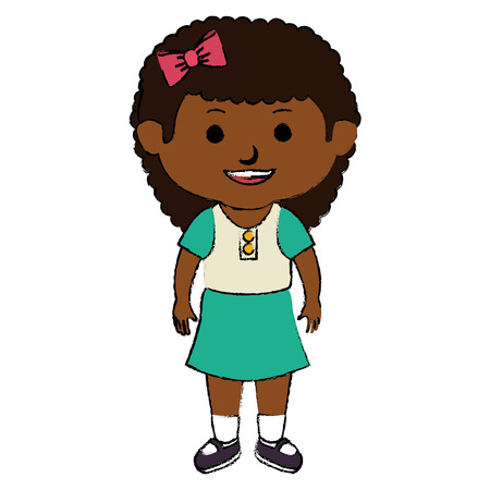 black little girl character vector illustration design
