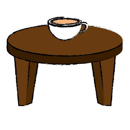 Round little table with coffee vector illustration design.