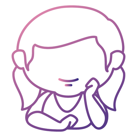 Cute little girl lying relax character vector illustration design