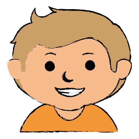 Cute little boy character vector illustration design.