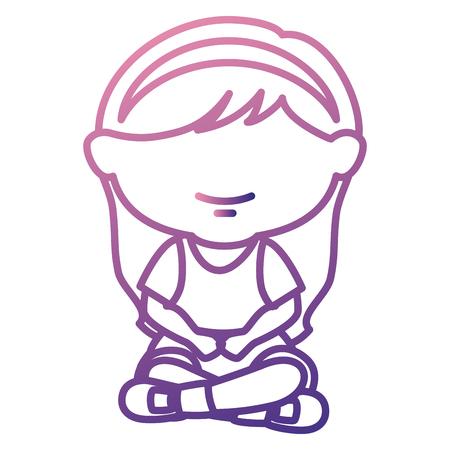 Cute bambina seduta carattere illustrazione vettoriale illustrazione Archivio Fotografico - 85019370
