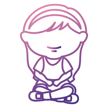 cute little girl seated character vector illustration design Banco de Imagens