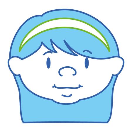 Progettazione sveglia dell'illustrazione di vettore del carattere della testa della bambina Archivio Fotografico - 85042103