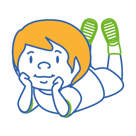 cute little boy lying character vector illustration design
