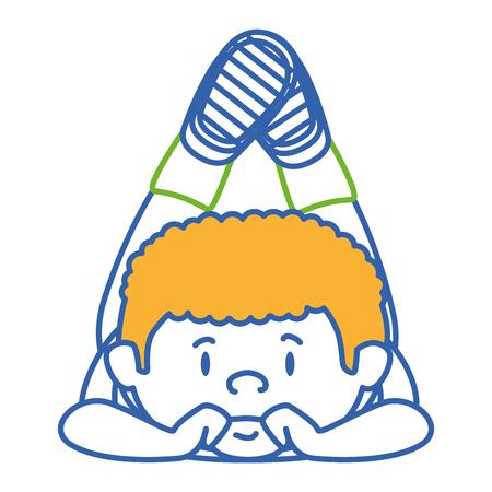 Cute little boy che copre carattere illustrazione vettoriale di progettazione Archivio Fotografico - 85005390