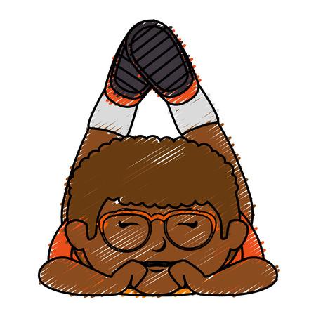 Black little boy with glasses character vector illustration design