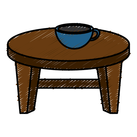 Round little table with coffee vector illustration design