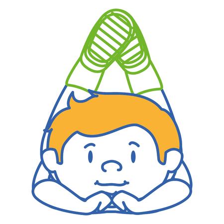 Cute little boy lying down character vector illustration design Illustration