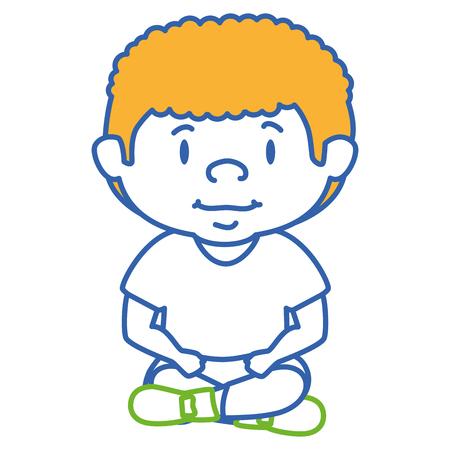 Cute little boy seduto carattere illustrazione vettoriale illustrazione Archivio Fotografico - 85017913