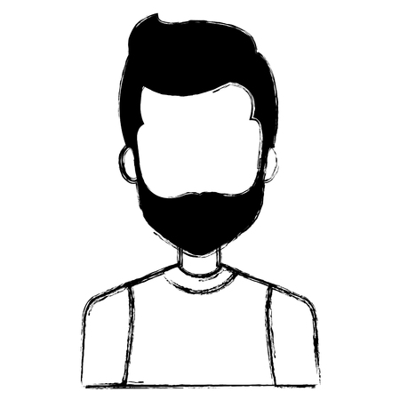 Young man with beard avatar character. Vector illustration design