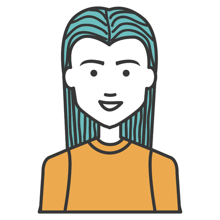 Young man head with long hair avatar character vector illustration design