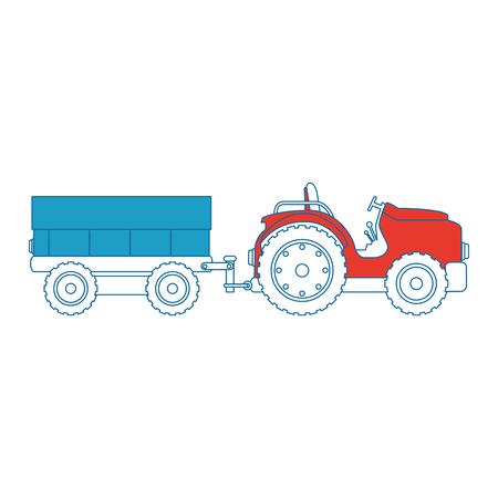 Tractor de granja con diseño del ejemplo del vector del carro Foto de archivo - 85025607