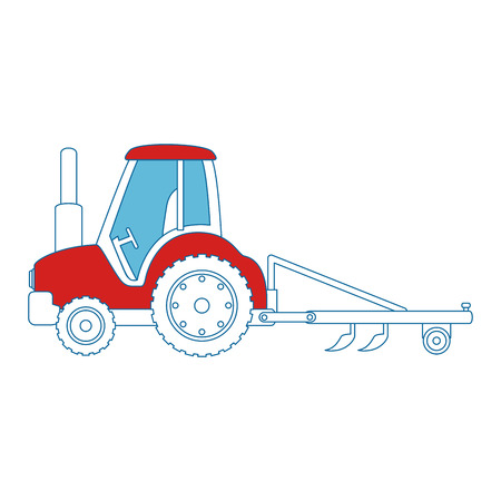 Farm tractor with rake vector illustration design Çizim