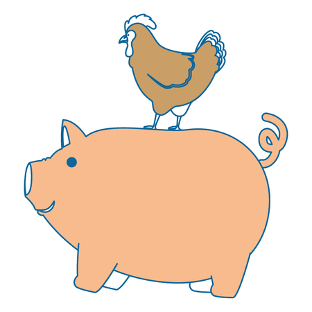 cute: farm pig and hen vector illustration design