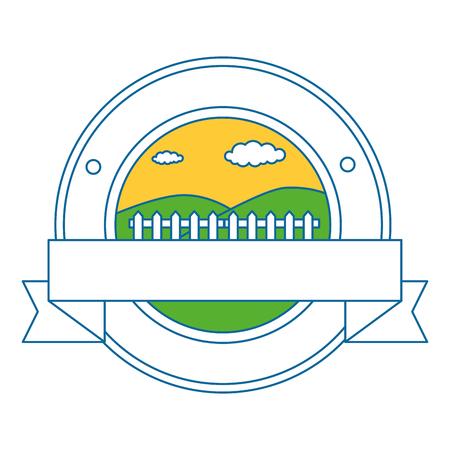 fence wooden seal stamp vector illustration design
