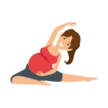 Mujer embarazada haciendo ejercicios de reanimación ilustración vectorial de diseño Foto de archivo - 85025830