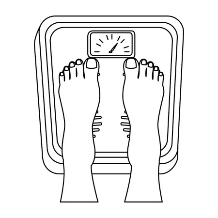 bathroom scale: Feet on scale weight measure icon vector illustration design Illustration
