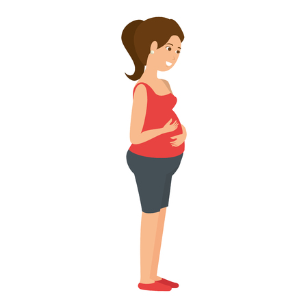 woman pregnant avatar character vector illustration design