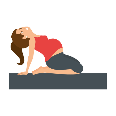 Woman pregnant doing prophylaxis exercises vector illustration design Illustration