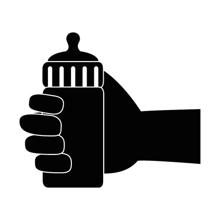 hand human with bottle baby vector illustration design