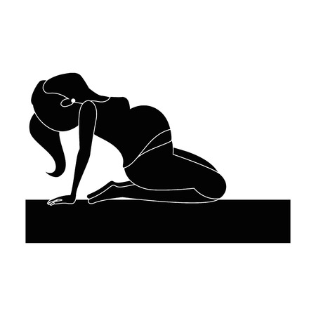 Woman pregnant doing prophylaxis exercises vector illustration design Illustration