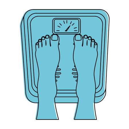 bathroom scale: Feet with scale weight measure icon vector illustration design