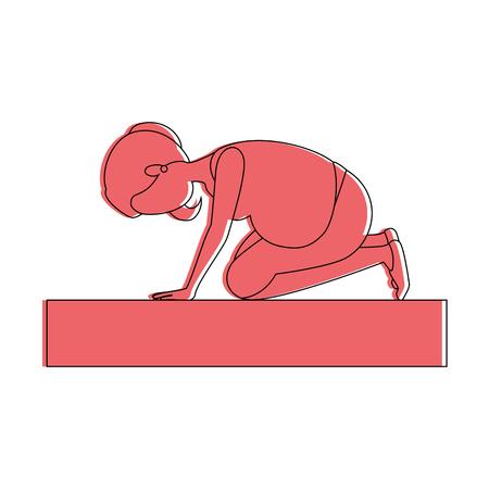 Mujer embarazada hacer ejercicios de profilaxis diseño de ilustración vectorial Foto de archivo - 85041035