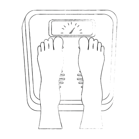 feets with scale weight measure icon vector illustration design Banco de Imagens - 85026743