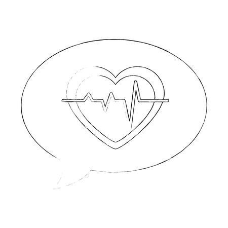 heart monitor: speech bubble with heart cardio vector illustration design Illustration