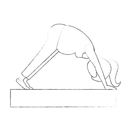 Mujer embarazada haciendo ejercicios de reanimación ilustración vectorial de diseño Foto de archivo - 85042260