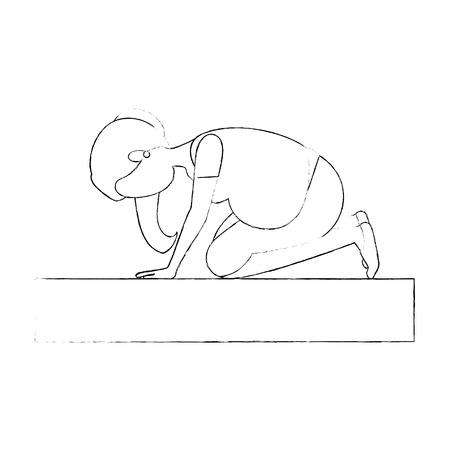 Mujer embarazada haciendo ejercicios de reanimación ilustración vectorial de diseño Foto de archivo - 85042253